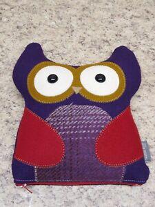 Handmade Treasure Buddy Wool Owl Pillow Zipped Hidden Pocket Purple Red 8.5x10
