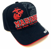 USMC UNITED STATES MARINE CORPS BLACK RED TEXT LOGO HAT CAP US MILITARY MARINES