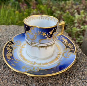 Rare Antique ERNST WAHLISS Raise Gold Pirkenhammer Eggshell Demitasse Cup Saucer