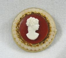Vintage Round Red Cameo Lucite Bead Gold Brooch Costume Jewelry Pin