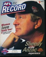 2001 AFL Football Record Essendon v Collingwood April 25 - 29 Bombers Magpies