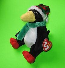 Toboggan Ty Beanie Baby Penguin Bird Holiday MWMT Birthday December 31 2002