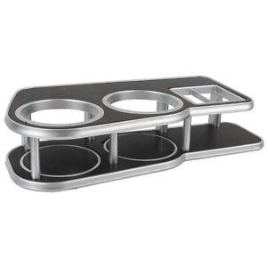 1Pcs Large Black Car Instrument Desk Table Silvery Brim Double Cup Drink Holder