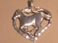 "Rsc Black Hills w/18"" Chain Mint! Vtg Horse Pendant 925 Sterling Silver/12k Gold"