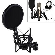 Pro Audio Condenser Microphone Mic Studio Sound Recording with Shock Mount Black