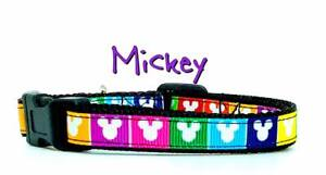 """Mickey Mouse cat or small dog collar Disney 1/2"""" wide adjustable handmade"""