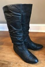 Steve Madden Candence Black Leather Slouch Knee High Boots Womens Sz 7.5