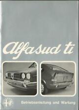 ALFA ROMEO ALFASUD ti Betriebsanleitung 1974 Bedienungsanleitung Handbuch BA