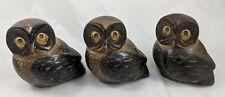 "OMC Japan Owl Figures Lot of 3 Ceramic Pottery 4"" Vintage"