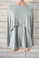 Decjuba Tunic Knit Top Size Small Grey Long Sleeve Layered