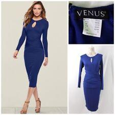 Venus Cut Out Neck Detail Dress Cobalt Blue Sz Small Body Controur