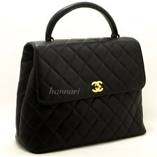 CHANEL Authentic Caviar Kelly Bag Handbag Black Quilted Flap Leather Gold h45