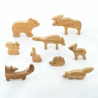 Natural Wooden Forest Animals set of 9