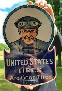 OLD VINTAGE HEAVY UNITED STATES TIRES SERVICE PORCELAIN ENAMEL METAL TIRE SIGN