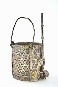 Old Japanese Gilt Sterling Silver Basket Bucket Rack Flower Open Salt Cellar Mk