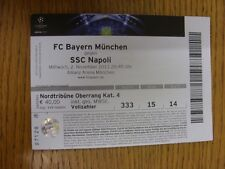 02/11/2011 Ticket: Bayern Munich v Napoli [Champions League] (light folding). Th