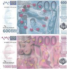 600€ u. 1000€ m. Wasserzeichen, Silberstreifen und Hologramm ähnlich echten €uro
