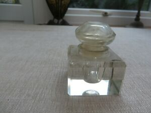 Stunning vintage glass ink well  square with ornate top beautiful