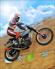 Vintage Motocross Bill Grossi VMX Art 24 x 28 Canvas HONDA ELSINORE RED TIP RARE