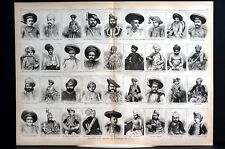 Western India Princes Chiefs 1873 PORTRAITS w NAMES Large Centerfold Engraving