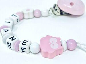 ★ Schnullerkette mit Namen ★ Mädchen ★ Eule ★ rosa ★weiß★ Personalisiert ★