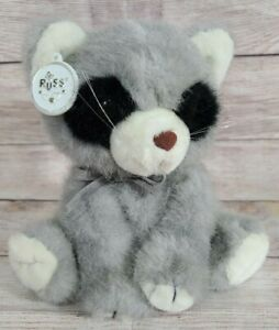 Vintage Russ Plush Ricky Raccoon Stuffed Animal Soft N' Suede Gray Black 7.5""