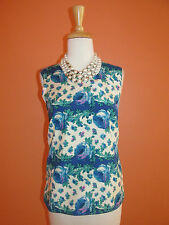New Talbots Size 8P Blue Floral Sleeveless Shell Top