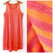 134e80399bc Eileen Fisher Pink Orange Sorbet Striped Linen Relaxed Dress Racerback Sz  Large