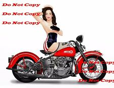 1940's Harley Davidson Motorcycle Pinup Girl 8X10 Photo Man Cave SIGN PIC P{X