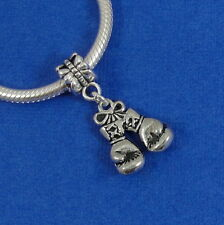 Silver Boxing Gloves Dangle Charm - Strength Fighter European Bead NEW