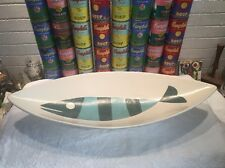 "RARE HUGE 25"" Mid Century Modern Metlox Pottery Tropicana Fish Low Console Bowl"