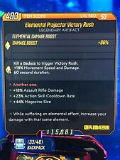 God Roll • Elemental Projector Victory Rush • Level 53 • XBox • BL3
