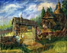 """Russischer Realist Expressionist Öl Leinwand """"Dorf"""" 90x70 cm"""