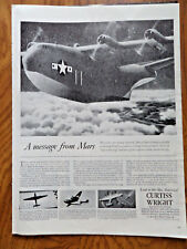 1944 Curtiss Wright Ad WW 2 A Message From Mars  Air Cargo Transport