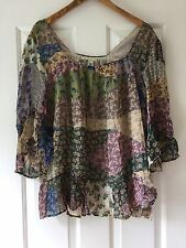 NEW Anthropologie Patchwork Peasant Top Floreat XL Beaded Bell Sleeve Blouse NWT
