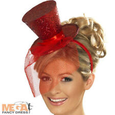 Red Fancy Dress Costume Ladies Glitter Top Hat & Veil