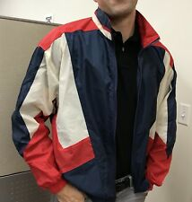 Red White Blue STARTER Jacket Vintage nylon warm up track Wind Breaker Large
