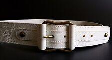 FABIO CORTI Genuine Grain Leather White Belt Sz XL Made in Italy