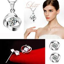 Ladies 925 Sterling Silver Set CZ Zirconia Cubic Earrings & Pendant Necklace Set