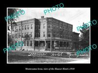 OLD LARGE HISTORIC PHOTO OF MONTEZUMA IOWA, VIEW OF THE HAUSER HOTEL c1910