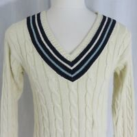 Vintage 90s Polo Ralph Lauren V Neck Cable Knit College Sweater L Ivory Blue