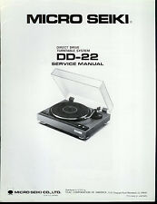 Original Factory Micro Seiki DD-22 Turntable Record Player Service Manual
