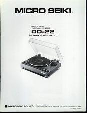 Original Factory Micro Seiki DD-22 Turntable Record Player Service Manual