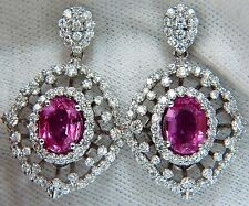 █$19000 6.42CT NATURAL INTENSE FANCY PINK SAPPHIRE DIAMONDS DANGLE EARRINGS 14KT