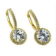 2.49CT Women's Fancy Halo Drop White Sapphire Earrings In 14K Solid Yellow Gold