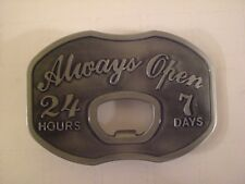 BRAND NEW ALWAYS OPEN 24 HOURS 7 DAYS BOTTLE OPENER BELT BUCKLE