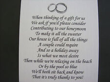 20 Wedding poems asking for money gifts not presents Ref No 11