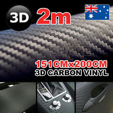 1.51 x 2M 3D Carbon Fiber Car Vinyl Film Black Sheet Wrap Sticker Decals DIY OZ