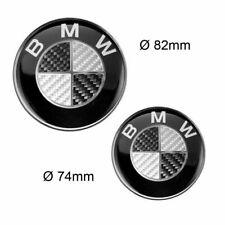 BMW Emblem 82mm + 74mm Schwarz Carbon Logo Vorne Hinten Heckklappe