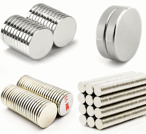 small & large NEODYMIUM MAGNETS DISCS ~ Strong 3M Self Adhesive ~ NORTH & SOUTH